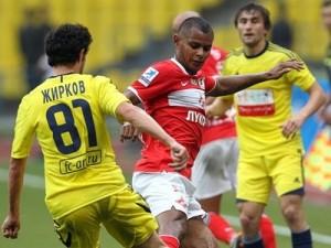 В дебютном матче за Анжи, против Спартака.